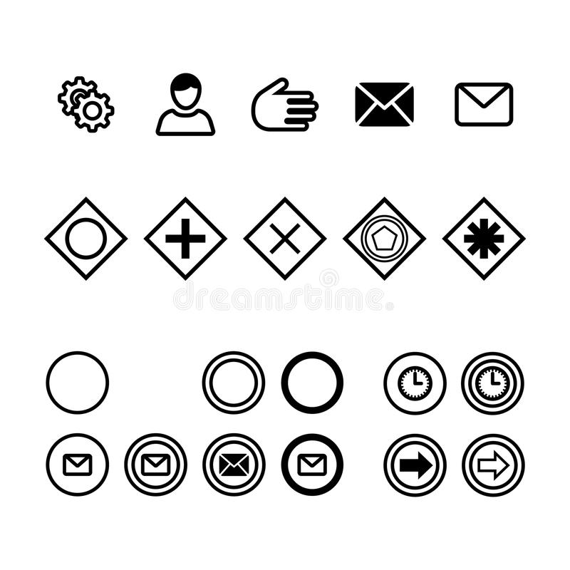 Icons for business process diagrams flat vector illustration. Icons for notation bpmn. Concept for actions and processes. Icons of actions, messages, time royalty free illustration
