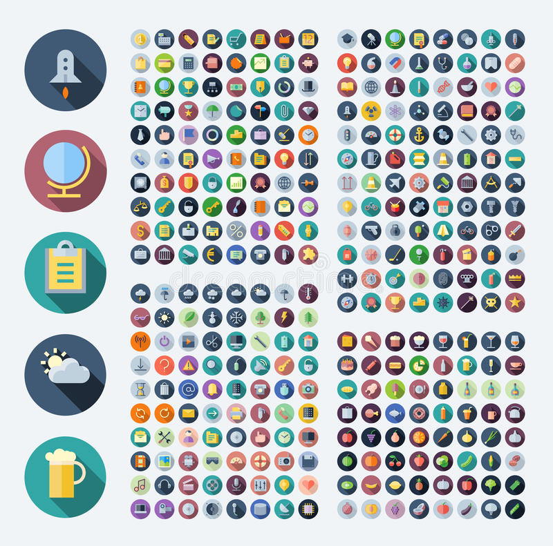 Icons for business, technology, industrial, food and drinks. Flat design icons for business, technology, industrial, user interface, food and drinks. Vector royalty free illustration