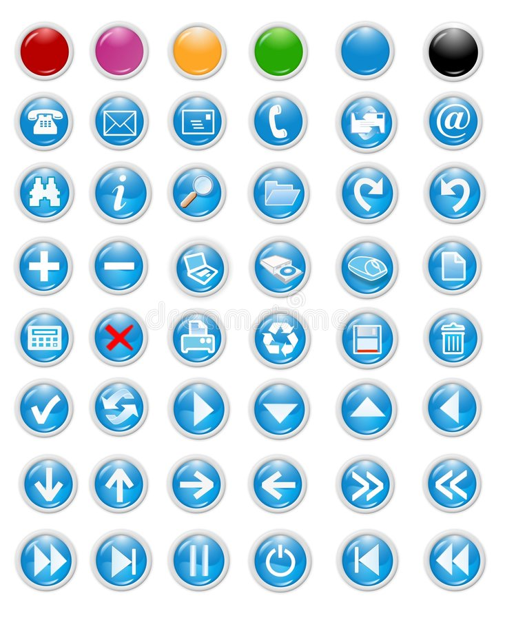 Icons and buttons royalty free illustration
