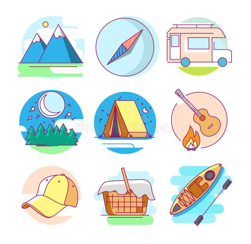 Icons of camping. Modern linear pictogram of camping. Icons of camping. Mountains. Compass. Baseball cap. Camping car. Kayak. Tourist tent. Perfect for website royalty free illustration