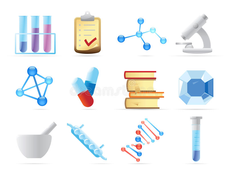 Download Icons for chemistry stock vector. Image of crystal, object - 16965520