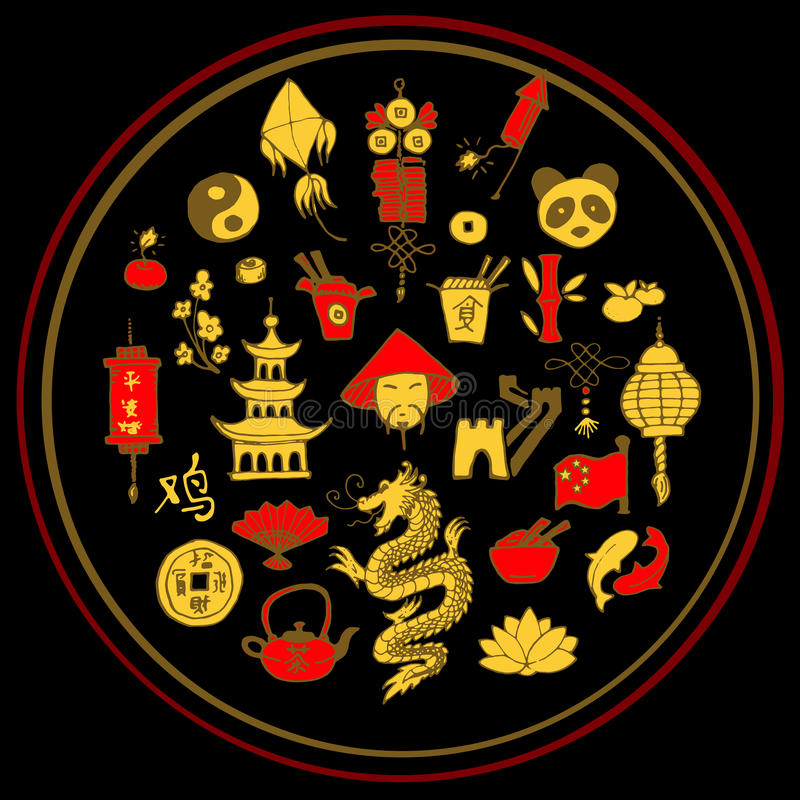 Icons of China decorated in circle royalty free illustration