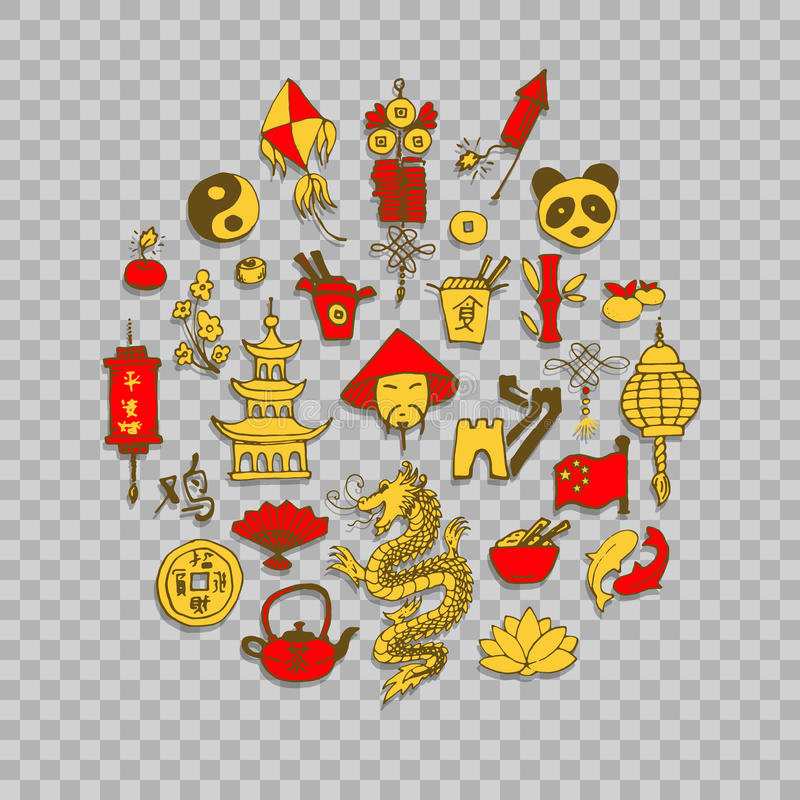 Icons of China decorated in circle vector illustration