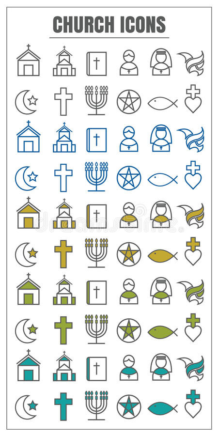icons Church vector color black Yellow green blue on white background stock illustration