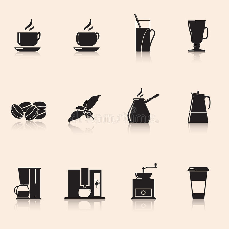Icons coffee: coffee grinder, mug, coffee grains vector illustration