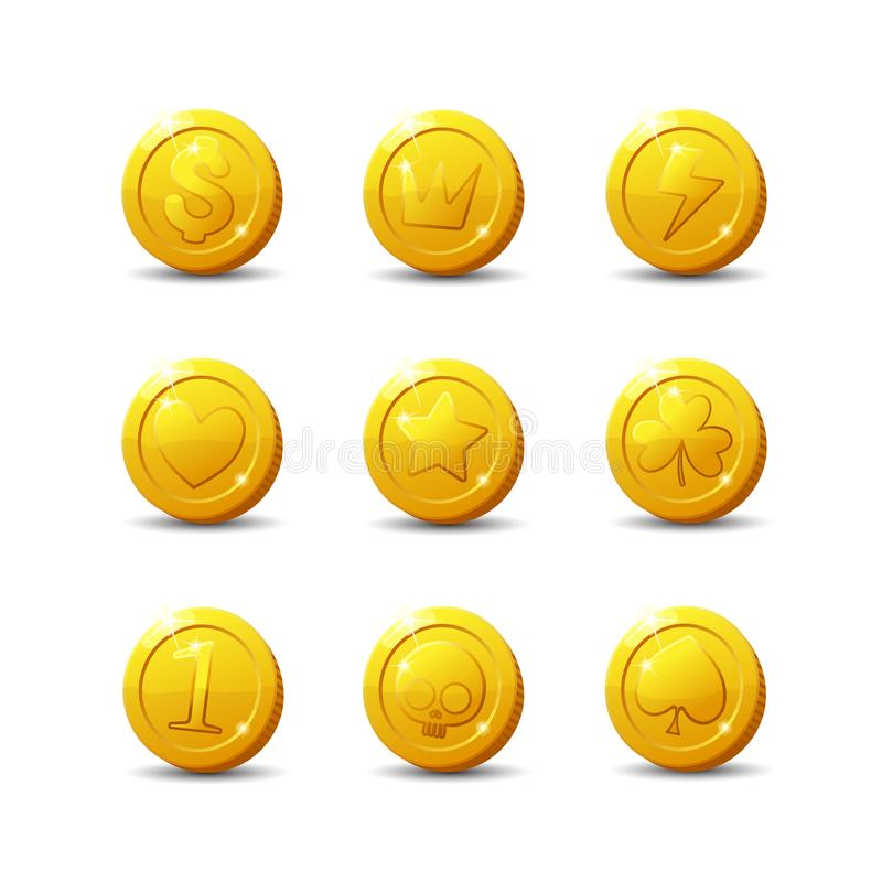Icons coins for the game interface. Set of different cartoon coins with logos, signs for web, game, application interface. Vector illustration art, animation royalty free illustration