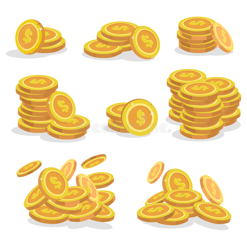 Icons coins for the game interface. Set of cartoon coin for apps.Vector illustration. Icons coins for the game interface. Set of cartoon coin vector illustration