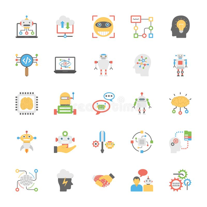 Icons Collection of Artificial Intelligence In Flat Design stock illustration