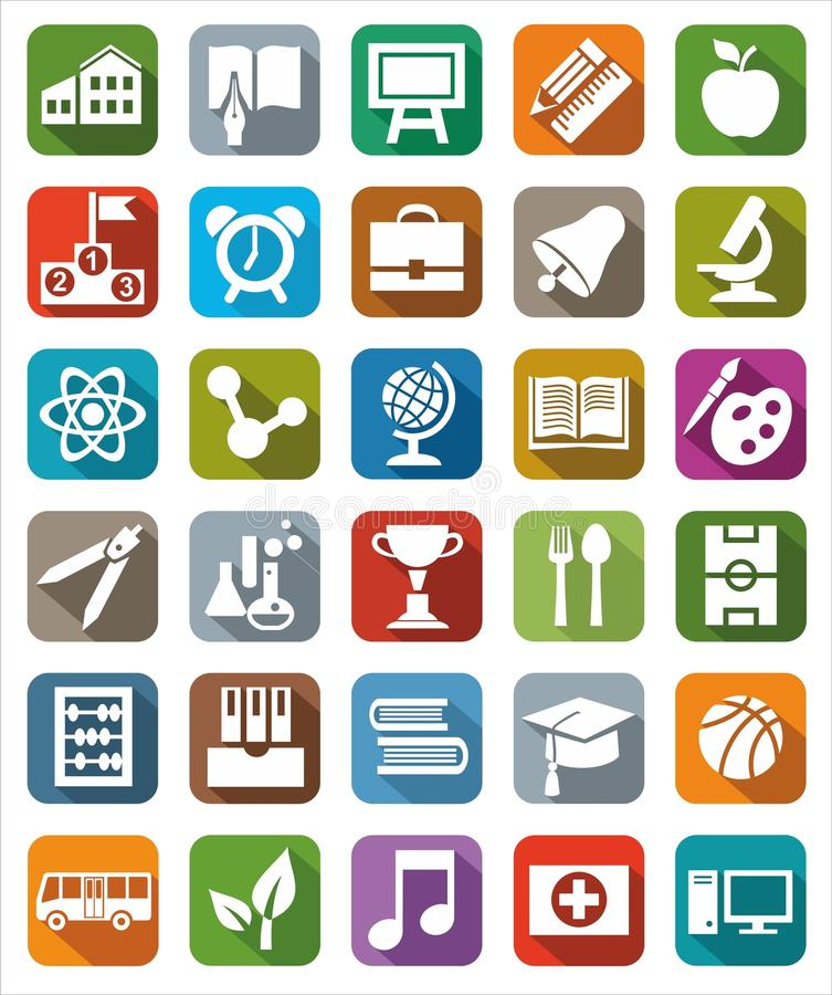 Icons colored education. vector illustration