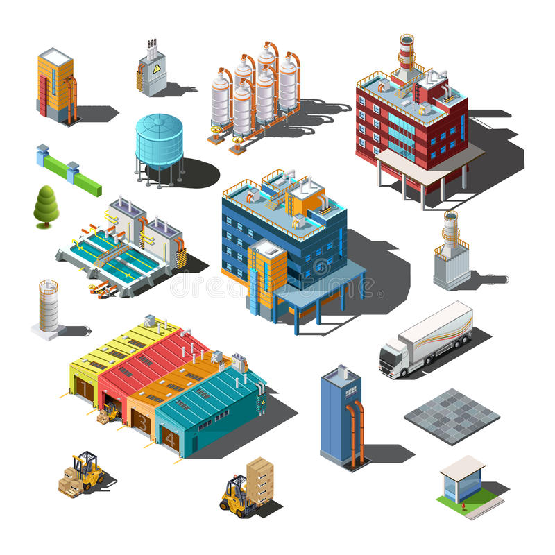 Icons and compositions of industrial subjects. Isolated constructions, buildings isometric view, 3D. Vector set of industry vector illustration