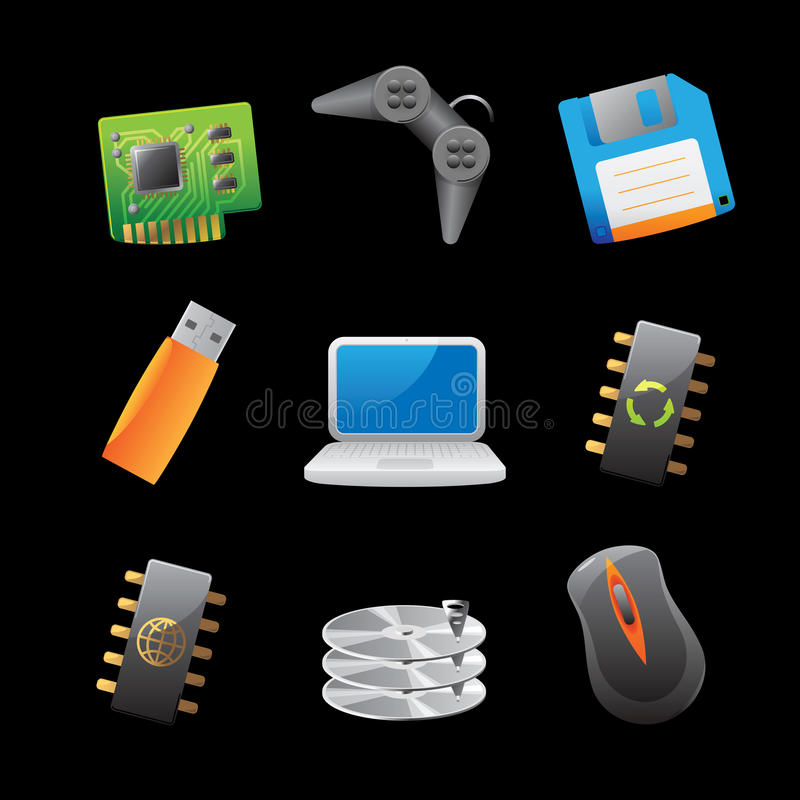 Icons For Computer And Computer Parts Stock Images