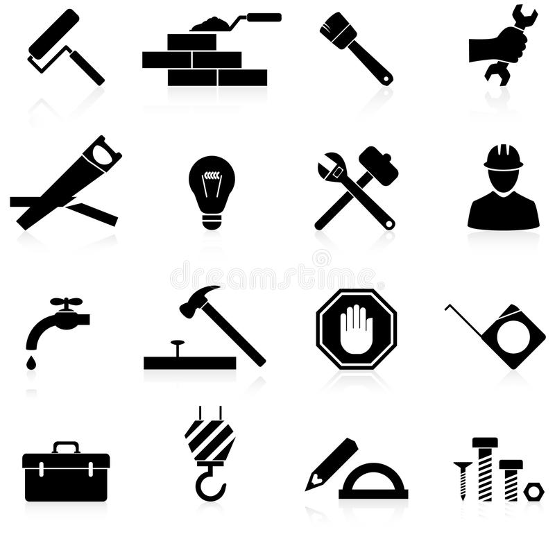 Icons construction and repair royalty free illustration
