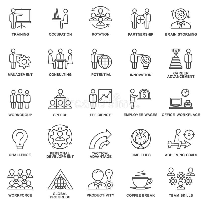 Icons corporate governance, business training. Teamwork and advice. The thin contour lines vector illustration
