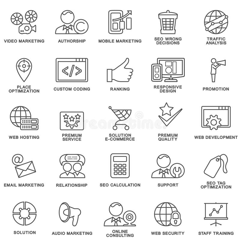 Icons corporate governance, business training. royalty free stock photos