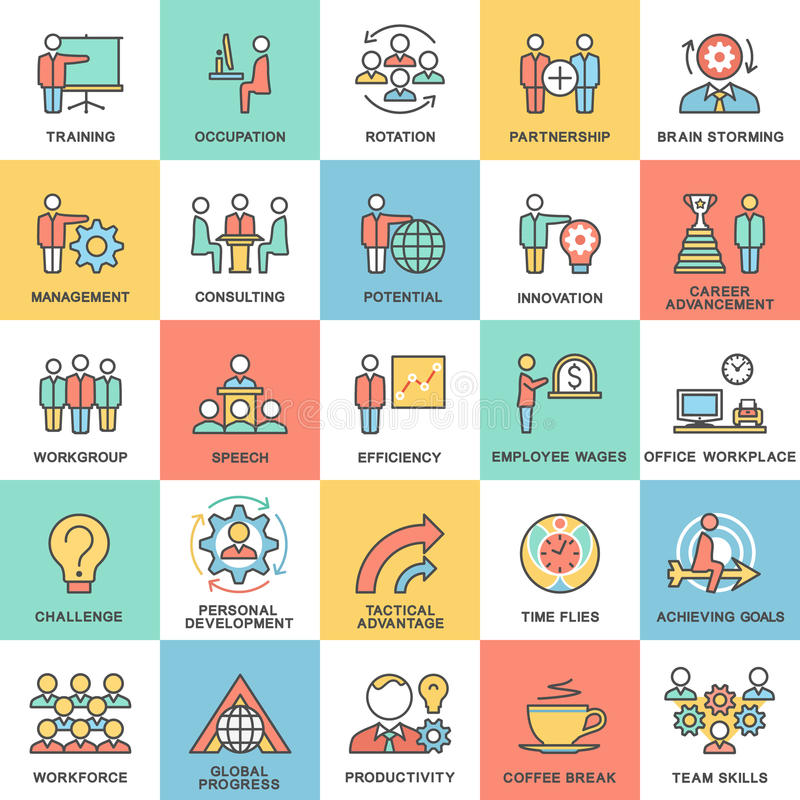Icons corporate governance, business training. Teamwork and advice. The thin contour lines with color fills vector illustration