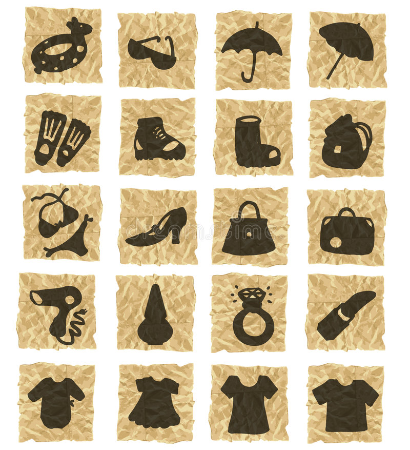 Icons on crumpled paper stock illustration