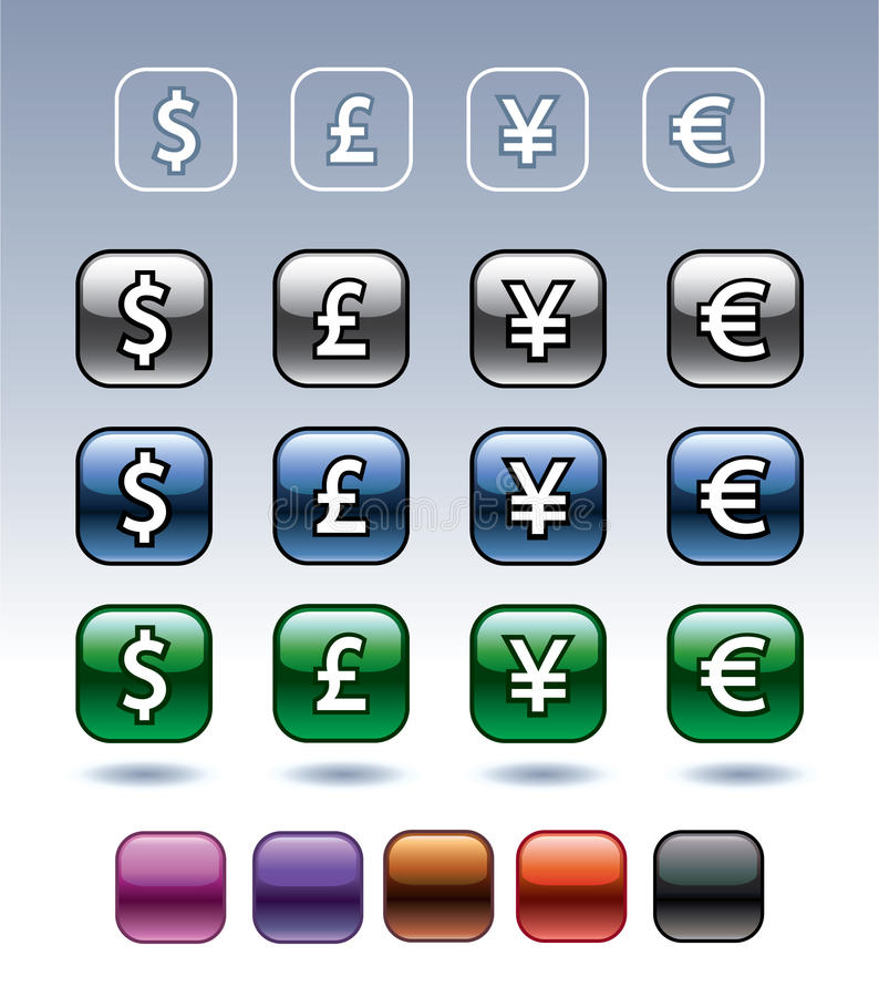 Icons with currency symbols