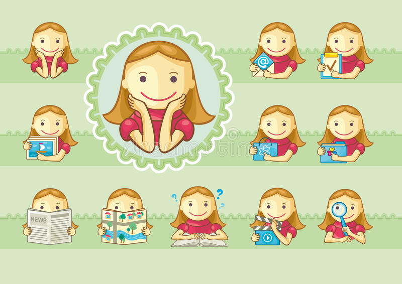 Icons of cute girls. Set of icons with cute girls for web menu etc. Background on separate layer royalty free illustration