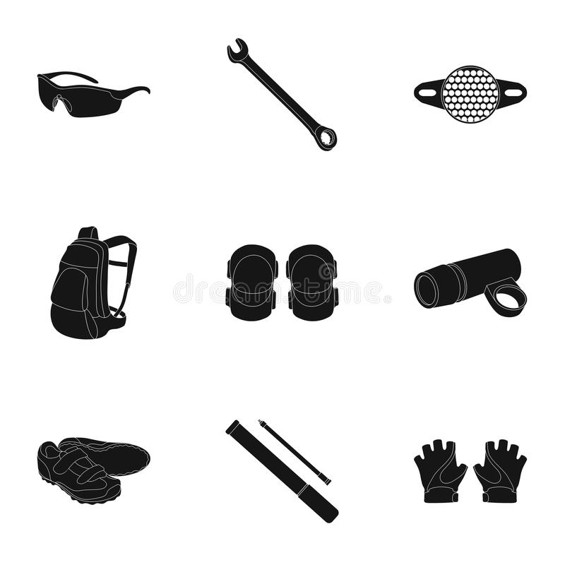 Icons of Cycling, bike. Set for bike, backpack protection, repair, form. Cyclist outfit icon in set collection on black vector illustration