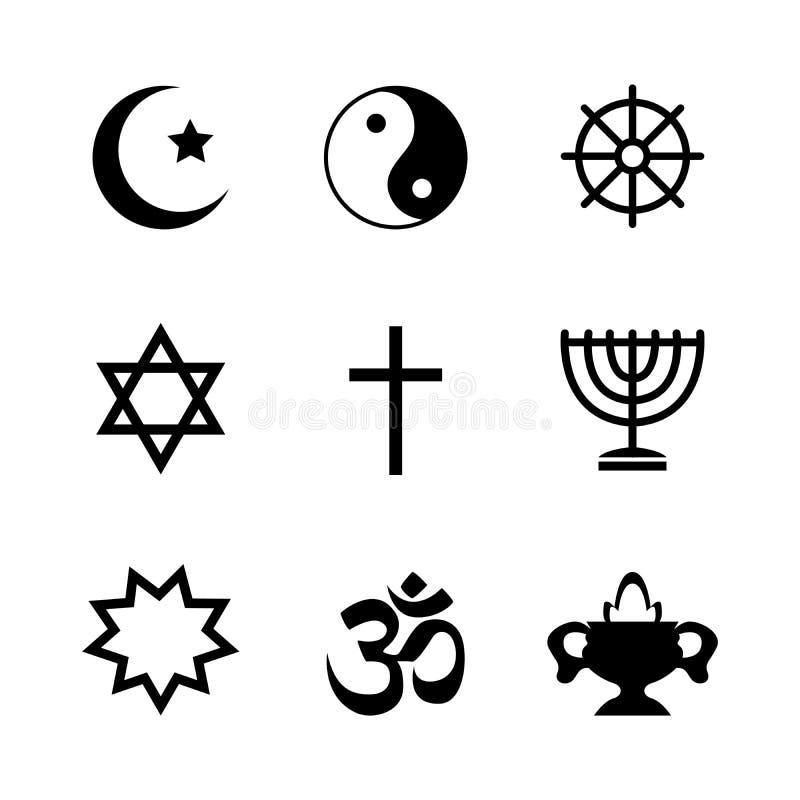 Icons denoting different religious symbols vector illustration