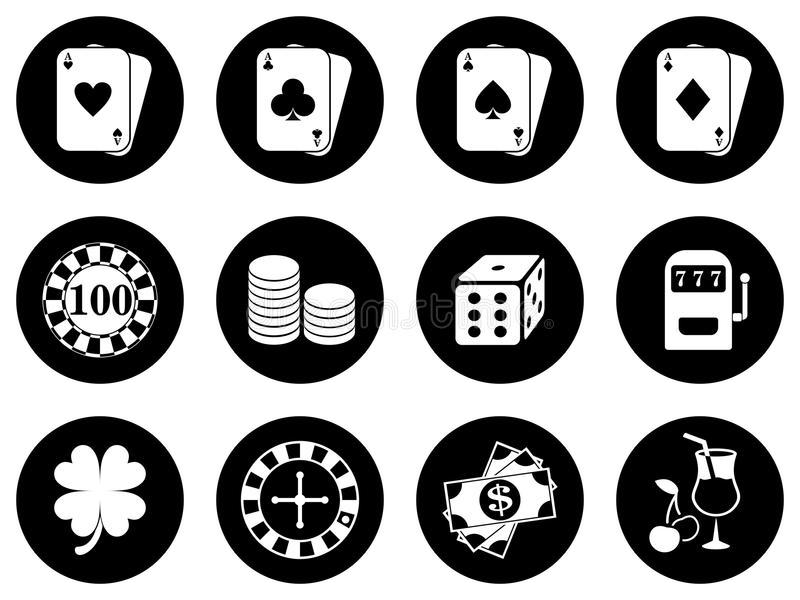 Icons design for a casino stock photography