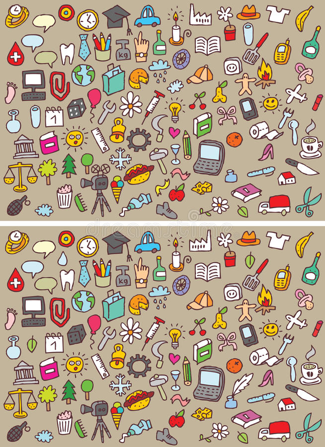 Icons Differences Visual Game stock illustration