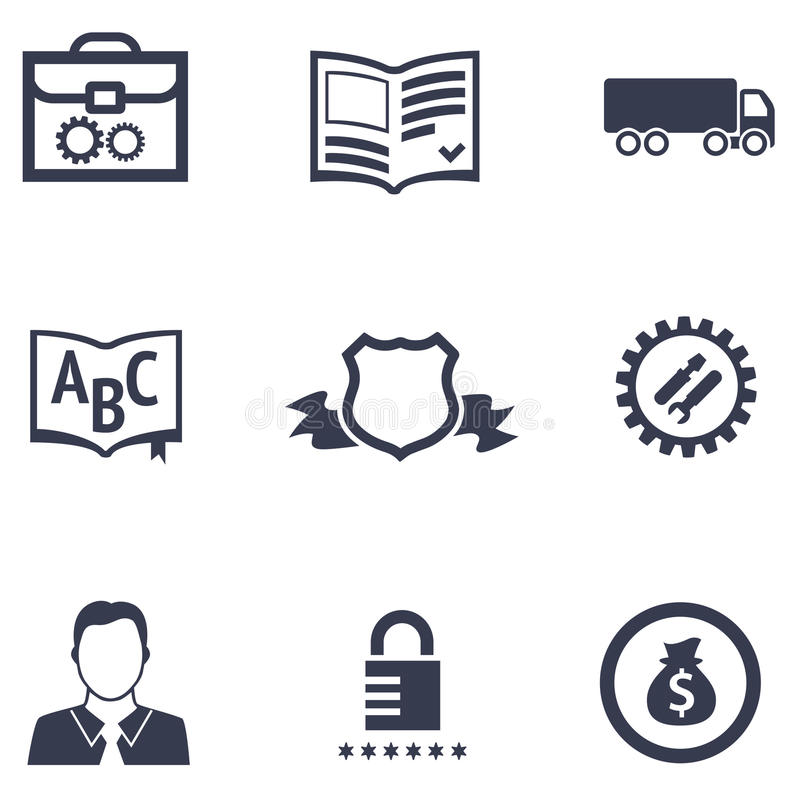 Icons Of Different Companies With Their Specialization Stock Vector