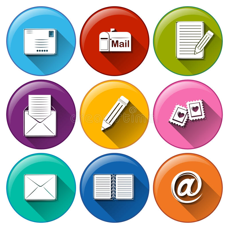Icons with the different mailing tools. Illustration of the icons with the different mailing tools on a white background vector illustration