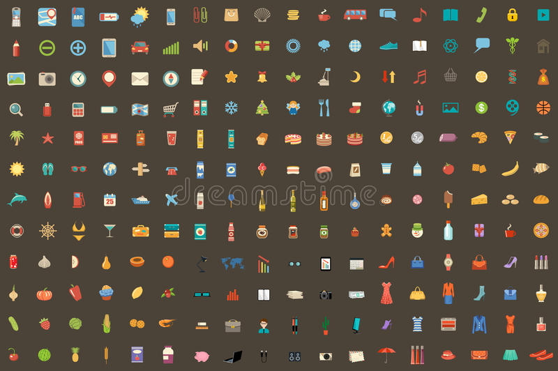 216 icons on different subjects. Vector illustration. Vector set from 216 icons on different subjects. dark background vector illustration