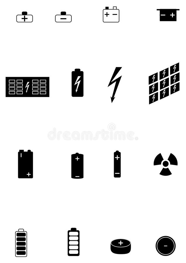 Icons of different types of electric batteries stock photography