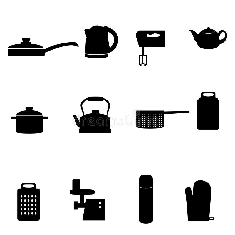 Icons of different types of kitchen appliances stock photography