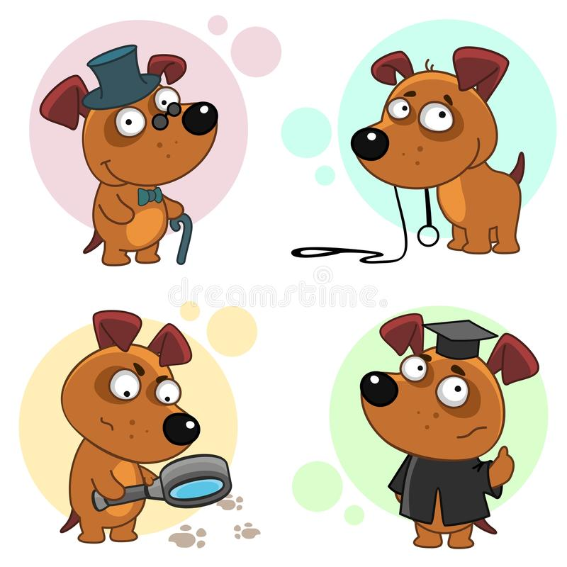 Icons with dogs part 7. Seventh part of a collection of icons with dogs for design. A dog in a hat and with a cane, a dog with a leash that wants to walk, a dog stock illustration