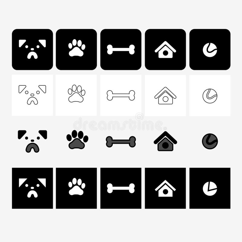Icons dogs pug muzzle, paws, bones, small house for dogs, a ball to play with different dog icon style contour filled rounded squa royalty free illustration