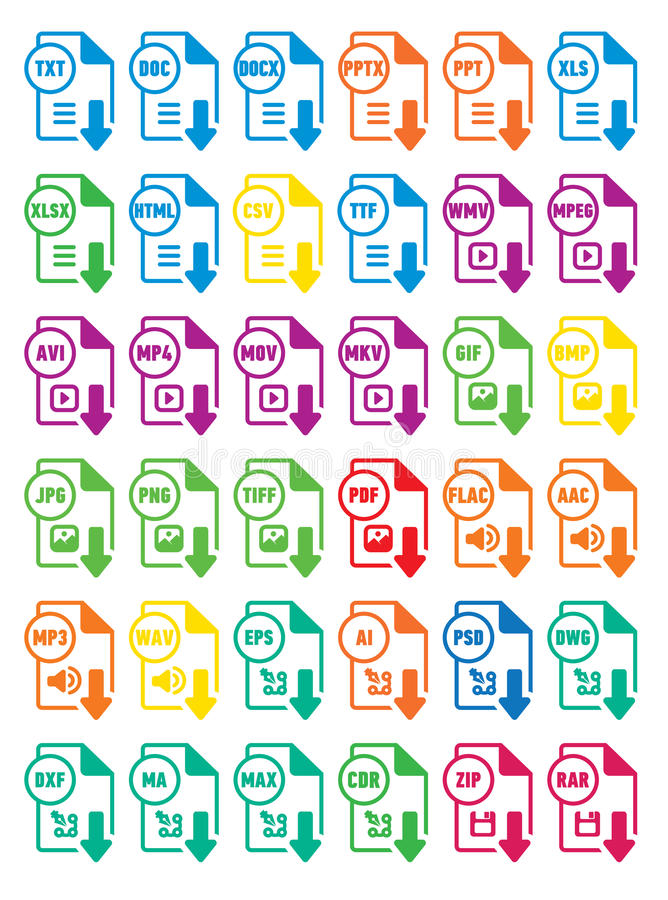 Icons download extension files royalty free illustration