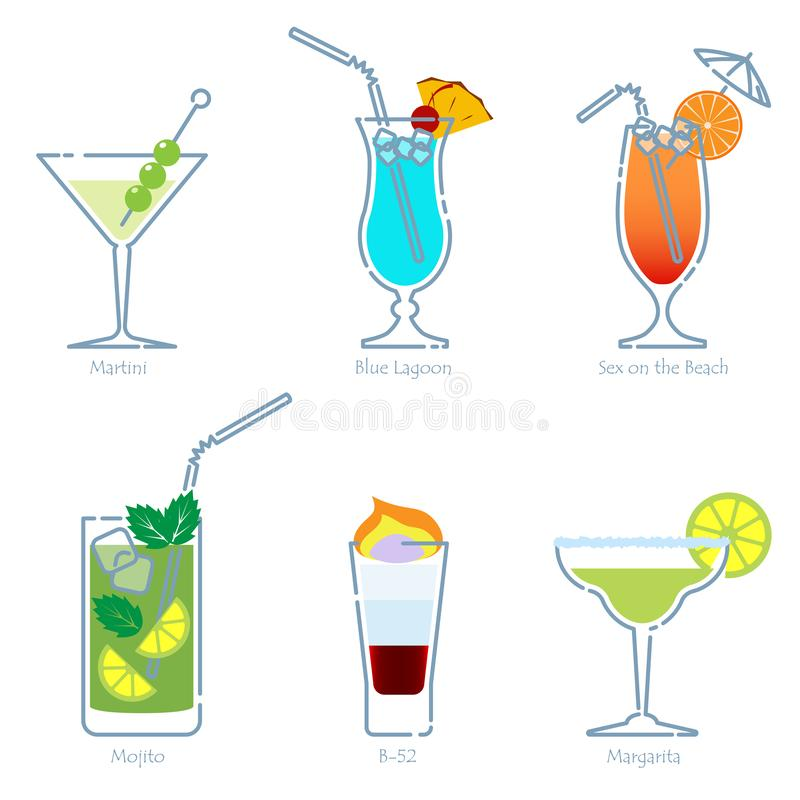 Holidays club party summer cocktails. Vector. Set of alcoholic cocktails isolated on white background. Martini, Blue Lagoon, Sex on the Beach, Mojito, B-52 stock illustration