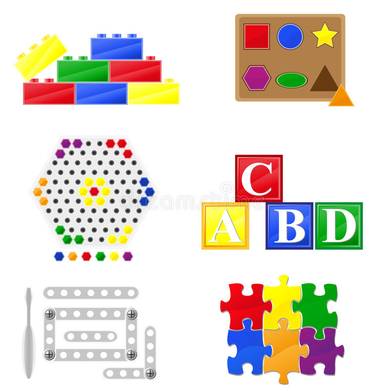 Icons educational toys for children vector illustration