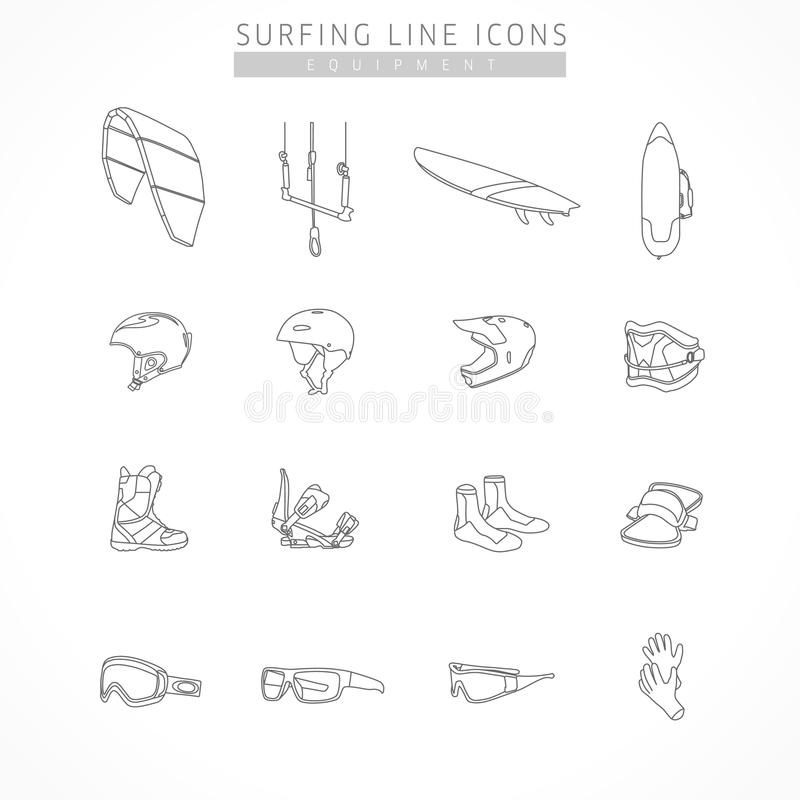 Set equipment of kite surfing and active sport line icons stock illustration