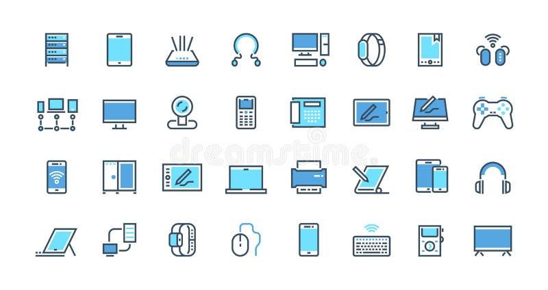 Icons für elektronische Geräte Desktop-Computer, Laptop und intelligente Gadgets - Umriss-Piktogramme Vektor-Verschleißvorrichtun vektor abbildung