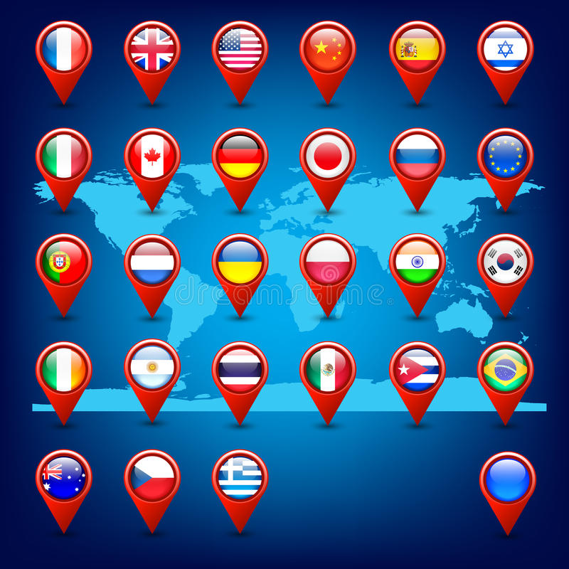 Icons with flags on the world map stock vector illustration download icons with flags on the world map stock vector illustration 24974903 gumiabroncs Images