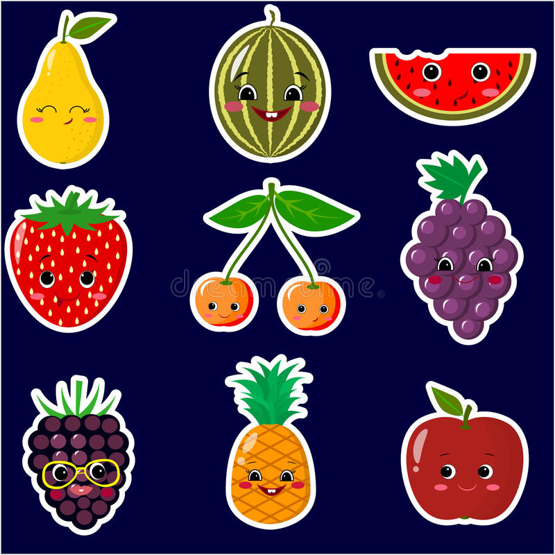 Icons of fruit smiley stickers with a white outline in the set. royalty free illustration