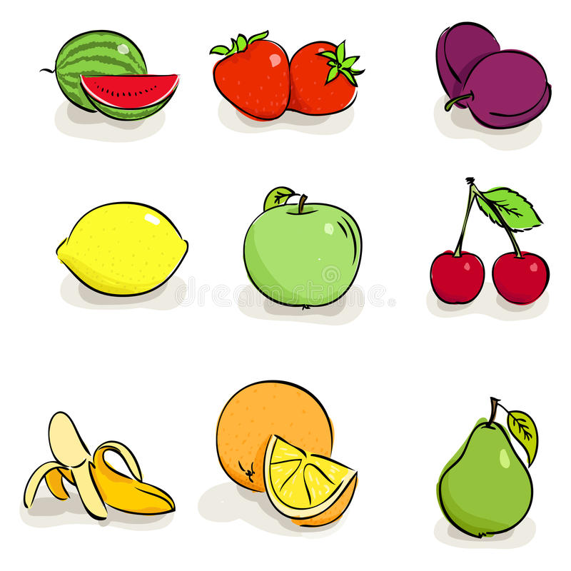 Download Icons Of Fruits And Berries Stock Vector - Illustration: 19816264