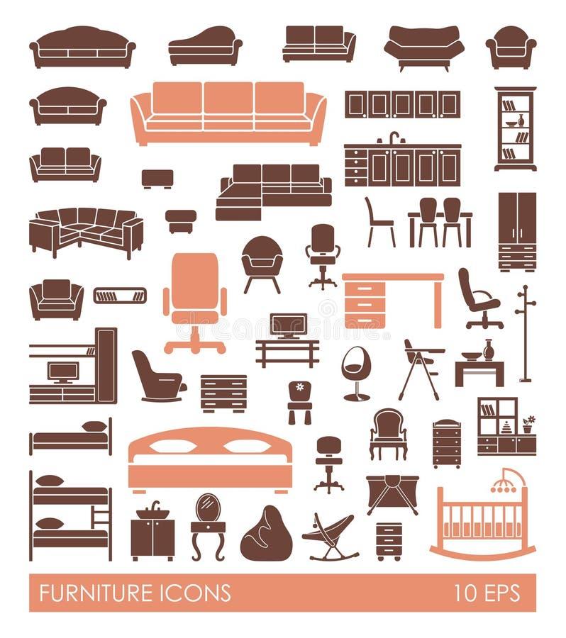 Furniture icon set. Flat illustration interior elements stock illustration