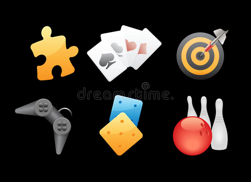 Download Icons For Games, Leisure And Gambling Stock Vector - Image: 16965542