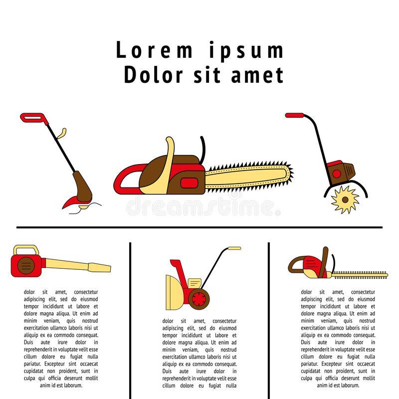 Technique for garden and lawn care. Icons of gardening power tools for flyer or leaflet. Technique for garden and lawn care vector illustration