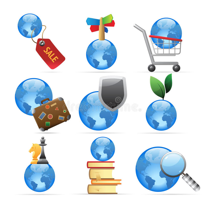 Download Icons for global concepts stock vector. Image of learning - 16912617