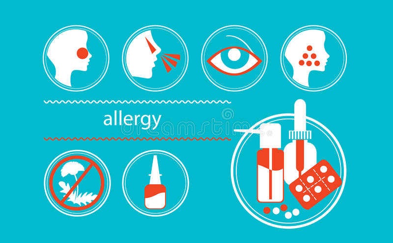 Icons healthy allergy. Set of icons on the theme of allergy stock illustration
