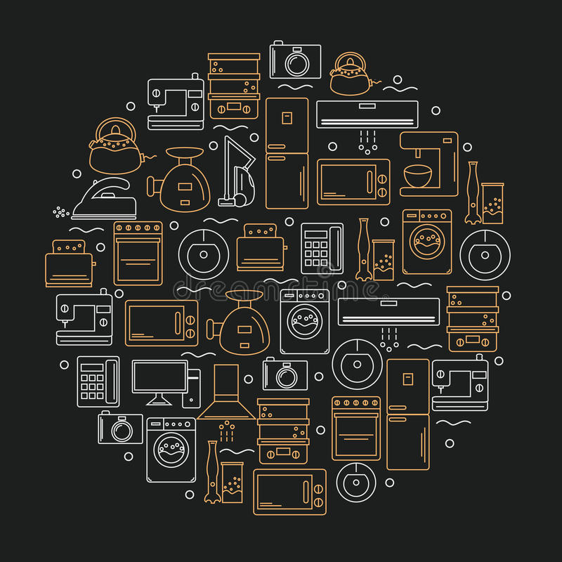 Icons of home appliances placed in a circle. Icons of home appliances on a dark background. Vector illustration. vector illustration