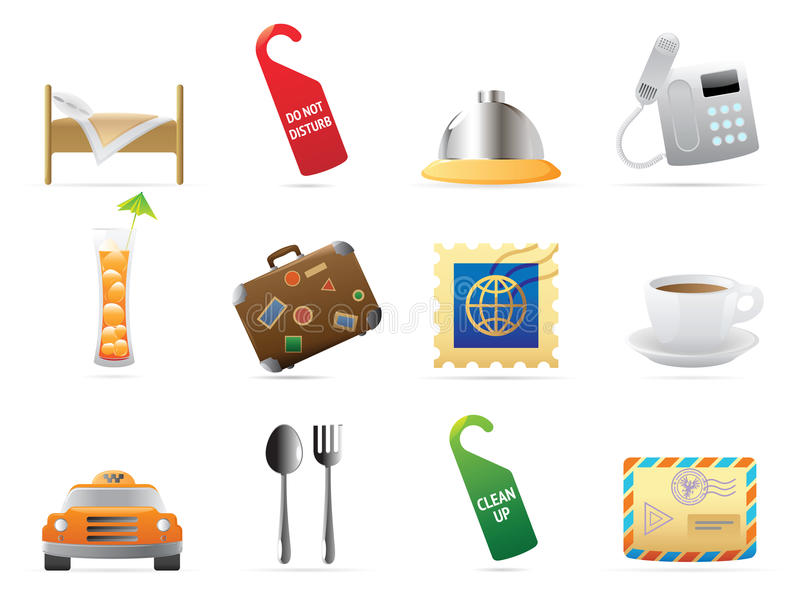 Icons For Hotel And Services Stock Photo
