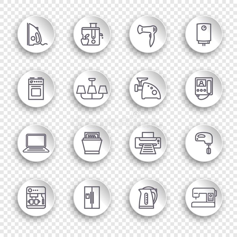 Icons of household appliances on round stickers with transparent shadows stock illustration