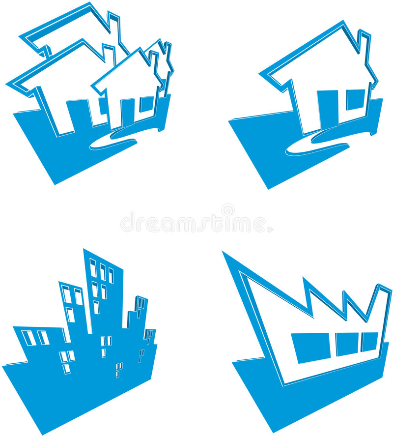Download Icons Of Houses And Buildings Stock Illustration - Image: 4145165